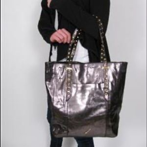 Brian Atwood leather metallic silver tote.
